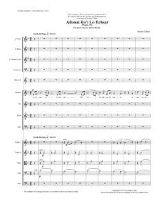 thumbnail of Adonai Ro'i (SATB & Orchestra) score sample